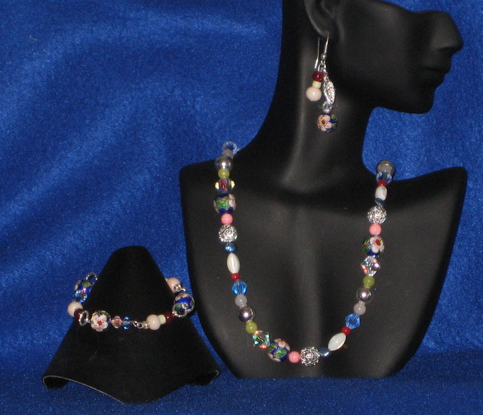 Necklace and Earrings Black Crystal /& Metallic Jewelry Set Monak by MJDesigns